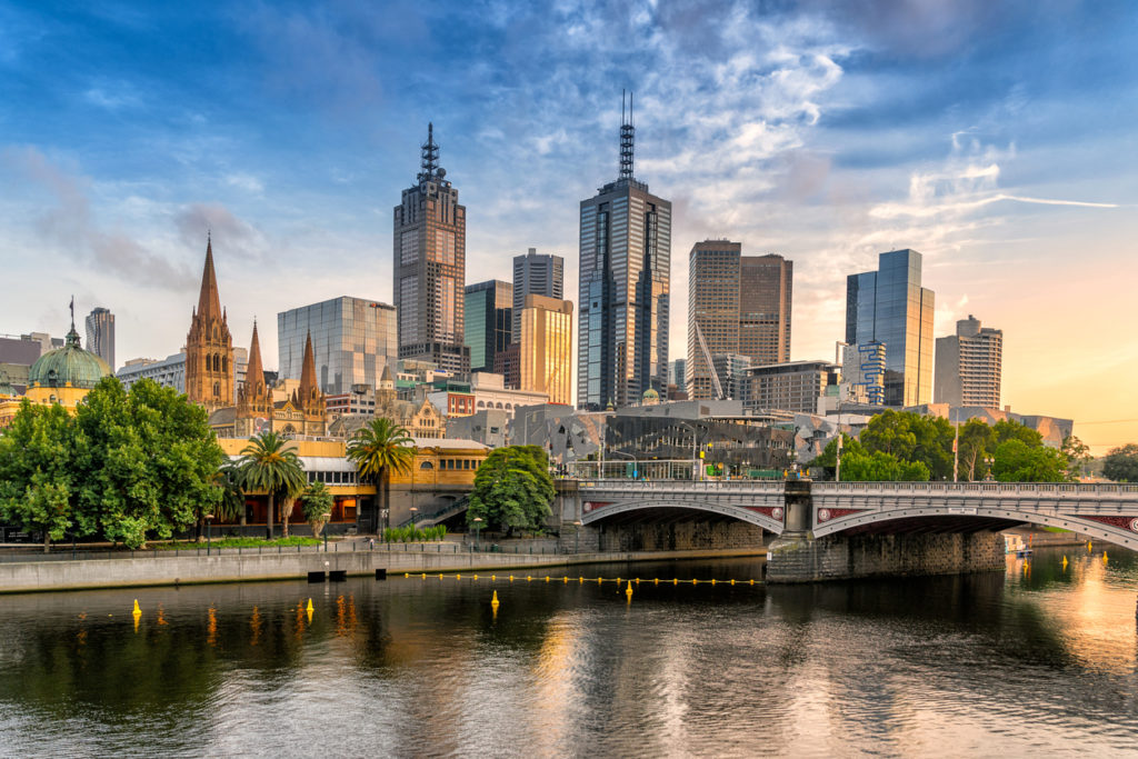 Melbourne Central Business District looking across the Yarra to the City of Melbourne